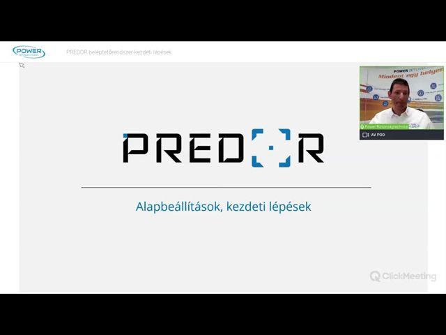Predor beléptetőrendszer- Kezdeti lépések